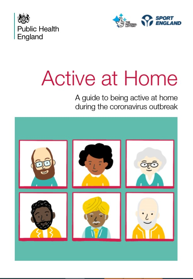 Picture of the cover of the Active at Home guide document. The picture shows 6 different types of people on the cover.