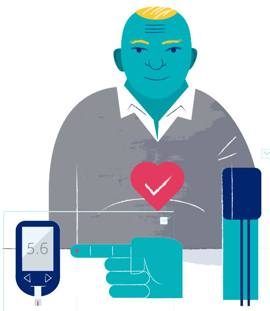 Drawing of a person having a blood pressure test, and a finger near a blood test device.
