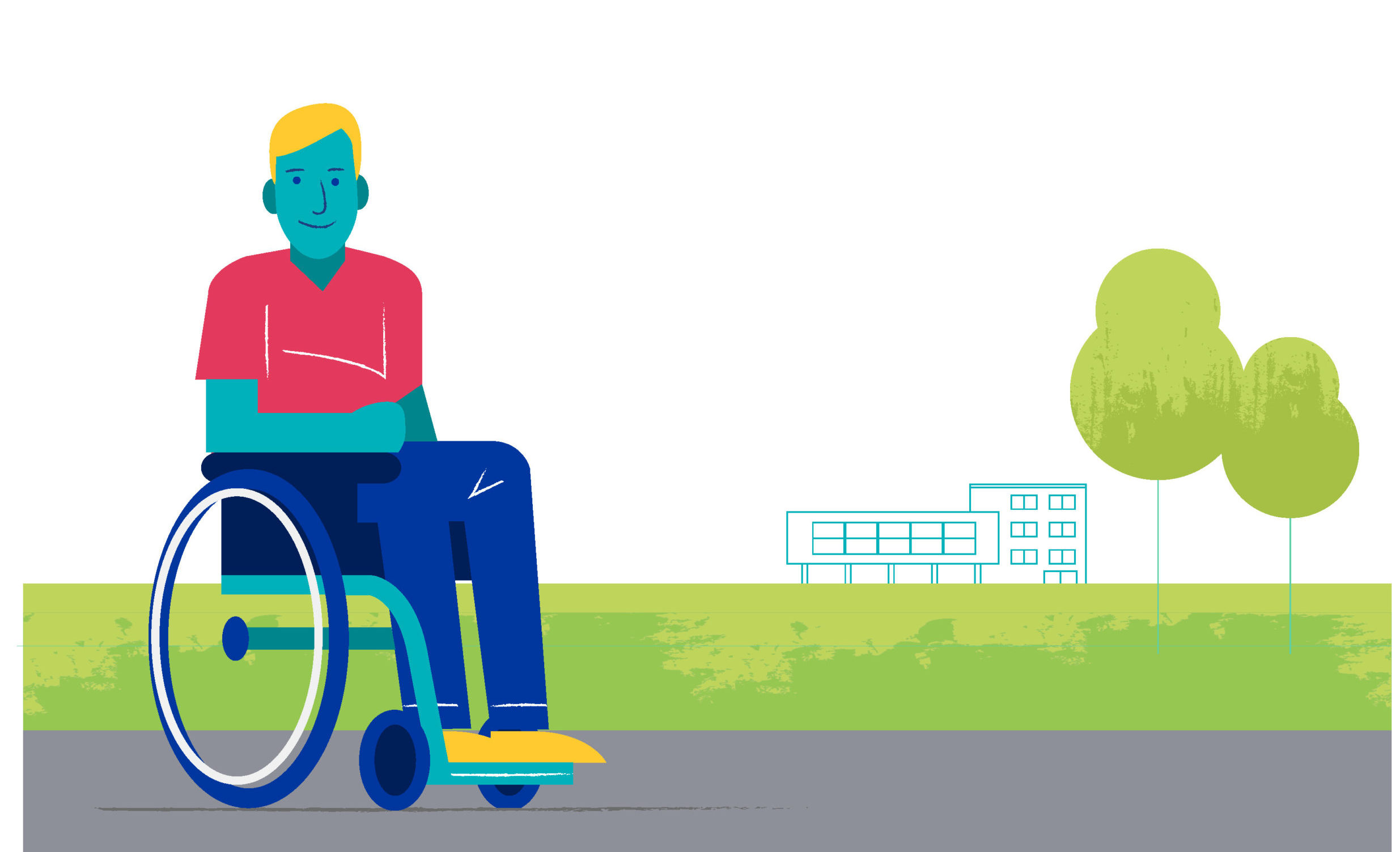The image shows a person who may be disabled sitting in a wheelchair